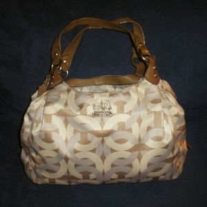 COACH Lg Signature Tan Ivory Gray Purse/Hand Bag
